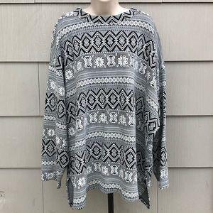 Vintage plus size stripe pattern geometric tunic